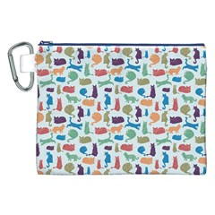 Blue Colorful Cats Silhouettes Pattern Canvas Cosmetic Bag (xxl)  by Contest580383