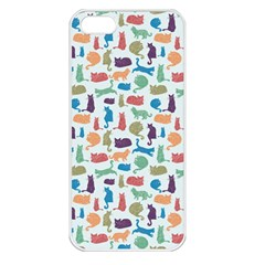 Blue Colorful Cats Silhouettes Pattern Apple Iphone 5 Seamless Case (white) by Contest580383