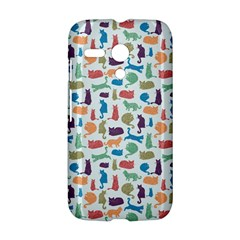Blue Colorful Cats Silhouettes Pattern Motorola Moto G by Contest580383