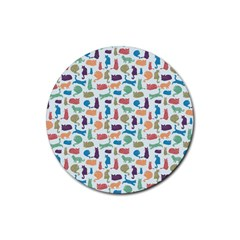 Blue Colorful Cats Silhouettes Pattern Rubber Coaster (round)  by Contest580383