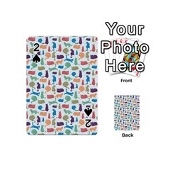 Blue Colorful Cats Silhouettes Pattern Playing Cards 54 (mini)  by Contest580383