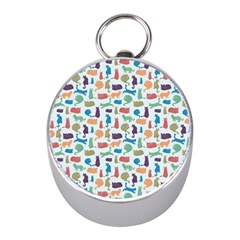 Blue Colorful Cats Silhouettes Pattern Mini Silver Compasses