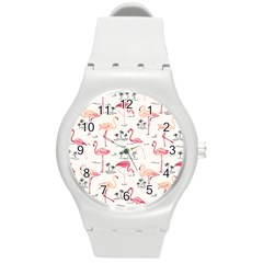 Flamingo Pattern Round Plastic Sport Watch (M) by Contest580383