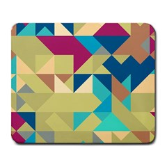 Scattered Pieces In Retro Colors Large Mousepad by LalyLauraFLM