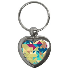 Scattered pieces in retro colors Key Chain (Heart) by LalyLauraFLM