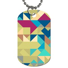 Scattered Pieces In Retro Colors Dog Tag (one Side) by LalyLauraFLM