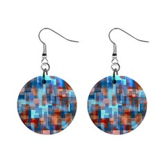 Blue Orange Watercolors 1  Button Earrings