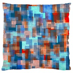 Blue Orange Watercolors Large Cushion Case (two Sides) by LalyLauraFLM