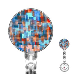 Blue Orange Watercolors Stainless Steel Nurses Watch by LalyLauraFLM