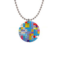 Circles And Rhombus Pattern 1  Button Necklace
