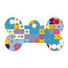 Circles And Rhombus Pattern Dog Tag Bone (two Sides)