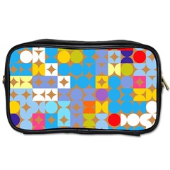 Circles And Rhombus Pattern Toiletries Bag (two Sides) by LalyLauraFLM