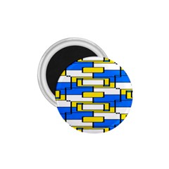 Yellow Blue White Shapes Pattern 1 75  Magnet by LalyLauraFLM