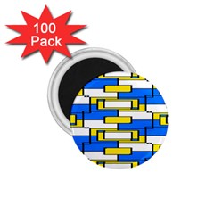Yellow Blue White Shapes Pattern 1 75  Magnet (100 Pack)  by LalyLauraFLM