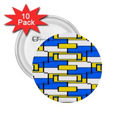 Yellow Blue White Shapes Pattern 2 25  Button (10 Pack) by LalyLauraFLM