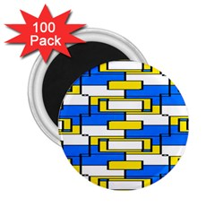 Yellow Blue White Shapes Pattern 2 25  Magnet (100 Pack)  by LalyLauraFLM