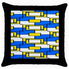 Yellow Blue White Shapes Pattern Throw Pillow Case (black) by LalyLauraFLM