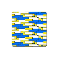 Yellow Blue White Shapes Pattern Magnet (square) by LalyLauraFLM