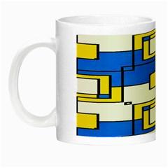 Yellow Blue White Shapes Pattern Night Luminous Mug by LalyLauraFLM