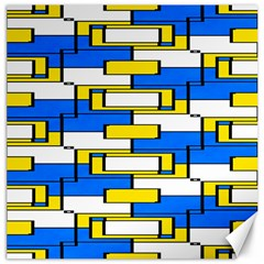 Yellow Blue White Shapes Pattern Canvas 16  X 16  by LalyLauraFLM