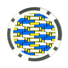 Yellow Blue White Shapes Pattern Poker Chip Card Guard by LalyLauraFLM