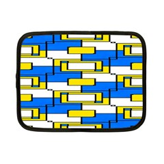Yellow Blue White Shapes Pattern Netbook Case (small) by LalyLauraFLM