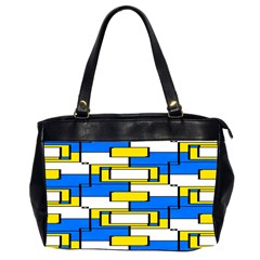 Yellow Blue White Shapes Pattern Oversize Office Handbag (2 Sides) by LalyLauraFLM