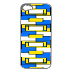 Yellow Blue White Shapes Pattern Apple Iphone 5 Case (silver) by LalyLauraFLM