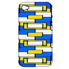 Yellow Blue White Shapes Pattern Apple Iphone 4/4s Hardshell Case (pc+silicone) by LalyLauraFLM