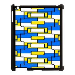 Yellow Blue White Shapes Pattern Apple Ipad 3/4 Case (black) by LalyLauraFLM