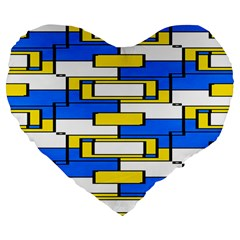 Yellow Blue White Shapes Pattern Large 19  Premium Heart Shape Cushion by LalyLauraFLM