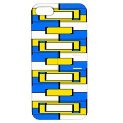 Yellow Blue White Shapes Pattern Apple Iphone 5 Hardshell Case With Stand by LalyLauraFLM