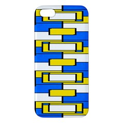 Yellow Blue White Shapes Pattern Apple Iphone 5 Premium Hardshell Case by LalyLauraFLM