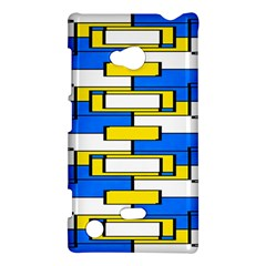 Yellow Blue White Shapes Pattern Nokia Lumia 720 Hardshell Case by LalyLauraFLM