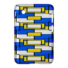 Yellow Blue White Shapes Pattern Samsung Galaxy Tab 2 (7 ) P3100 Hardshell Case  by LalyLauraFLM