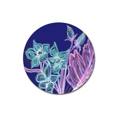 Purple, Pink Aqua Flower Style Magnet 3  (round) by Contest1918526