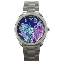 Purple, Pink Aqua Flower Style Sport Metal Watches by Contest1918526