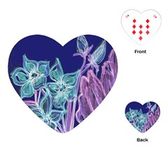 Purple, Pink Aqua Flower Style Playing Cards (heart)  by Contest1918526