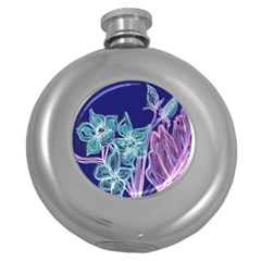 Purple, Pink Aqua Flower style Round Hip Flask (5 oz) by Contest1918526