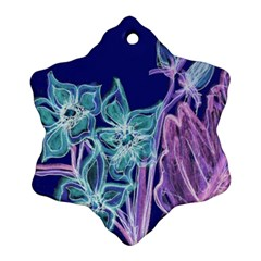 Purple, Pink Aqua Flower Style Ornament (snowflake)  by Contest1918526