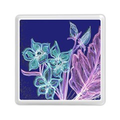 Purple, Pink Aqua Flower Style Memory Card Reader (square)  by Contest1918526