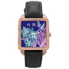 Purple, Pink Aqua Flower Style Rose Gold Watches by Contest1918526