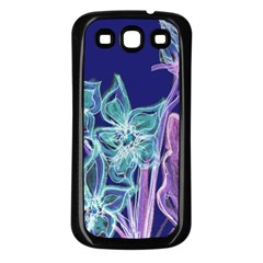 Purple, Pink Aqua Flower Style Samsung Galaxy S3 Back Case (black) by Contest1918526