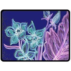 Purple, Pink Aqua Flower Style Double Sided Fleece Blanket (large)  by Contest1918526