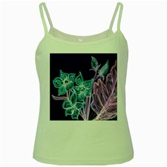 Purple, Pink Aqua Flower Style Green Spaghetti Tanks by Contest1918526
