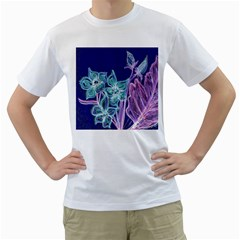 Purple, Pink Aqua Flower Style Men s T Shirt (white) (two Sided) by Contest1918526