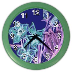 Purple, Pink Aqua Flower Style Color Wall Clocks by Contest1918526