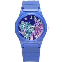 Purple, Pink Aqua Flower Style Round Plastic Sport Watch (s) by Contest1918526