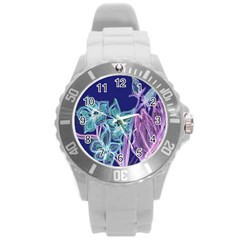 Purple, Pink Aqua Flower Style Round Plastic Sport Watch (l) by Contest1918526