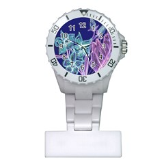 Purple, Pink Aqua Flower Style Nurses Watches by Contest1918526